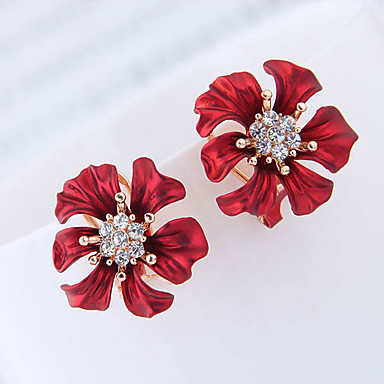 08df23b3a54e5f Women's Stud Earrings Earrings Imitation Diamond Earrings Flower Simple  European Sweet Fashion Elegant Jewelry Red For Party Gift Daily Date Going  out 1 ...