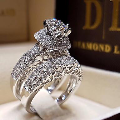 levne Prsteny-Dámské Bílá Kubický zirkon Solitaire Zásnubní prsten Pozlacené Luxus Fashion Ring Šperky Bílá Pro Svatební Zásnuby