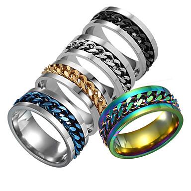 billige Herreringer-Herre Ring 1pc Sølv / Regnbue / Blå Rustfritt Stål Daglig / Festival Kostyme smykker