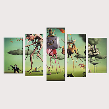 billige Trykk-Trykk Valset lerretskunst Strukket Lerret Trykk - Mennesker fantasi Vintage Moderne Fem Paneler Kunsttrykk