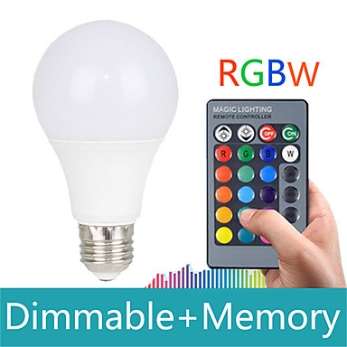 billige Elpærer-HRY 1pc 5 W Smart LED-lampe 200-500 lm E26 / E27 A60(A19) 3 LED perler SMD 5050 Mulighet for demping Fjernstyrt Dekorativ RGBW 85-265 V / 1 stk. / RoHs