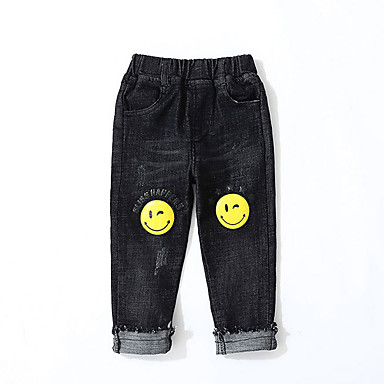tanie Jeansy dla chłopców-Dzieci Dla chłopców Podstawowy Moda miejska Nadruk Podarte Nadruk Bawełna Jeansy Czarny