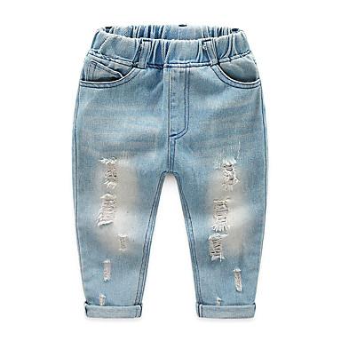 baratos Jeans Para Meninos-Infantil Para Meninos Básico Moda de Rua Sólido Buraco rasgado Algodão Jeans Azul Claro
