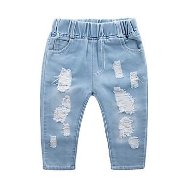 baratos Jeans Para Meninos-Infantil Para Meninos Básico Moda de Rua Sólido rasgado Algodão Jeans Azul