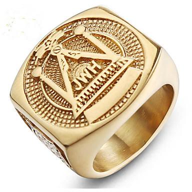 voordelige Herensieraden-Heren Ring 1pc Goud Titanium Staal Geometrische vorm Stijlvol Lahja Dagelijks Sieraden Klassiek Gelukkig familiewapen Cool