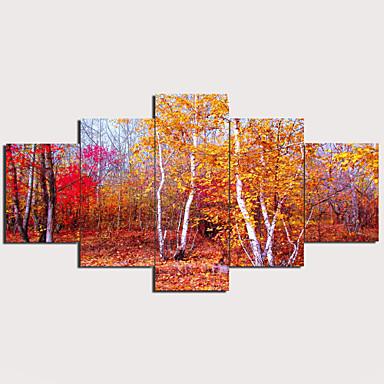 tanie Wydruki-Nadruk Wydruki na rozciągniętym płótnie - Krajobraz Tradycyjny Nowoczesny Pięć paneli Reprodukcje