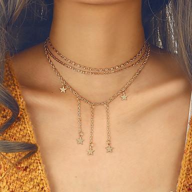 abordables Collier-vintage collier multi-couche de tour de cou pour les femmes rétro boho couleur or pendentif pompon collier nouveau bijoux cadeau