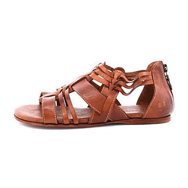 povoljno Ženske sandale-Žene PU Ljeto Sandale Ravna potpetica Crn / Svjetlo siva / Svjetlosmeđ