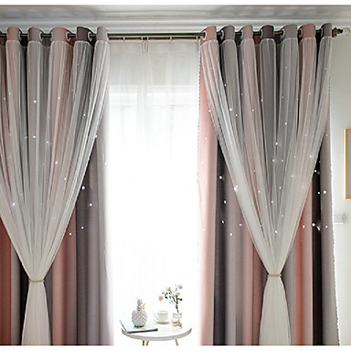 cheap Window Treatments-Contemporary Blackout One Panel Curtain & Sheer Bedroom   Curtains