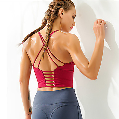 cheap Sports Bra-Women's Removable Pad Sports Bra Sports Solid Color Bra Top Yoga Running Fitness Sleeveless Activewear Breathable Quick Dry Sweat-wicking Stretchy Slim