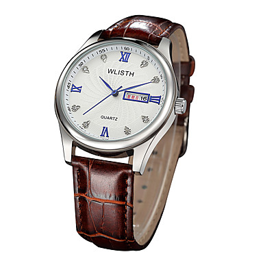 cheap Jewelry & Watches-Men's Dress Watch Quartz Leather Black / Brown 30 m Water Resistant / Waterproof Calendar / date / day Analog Casual Fashion - Silvery / White Black / Silver One Year Battery Life