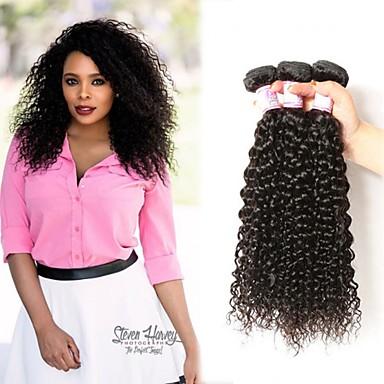 voordelige Weaves van echt haar-3 bundels Braziliaans haar Kinky Curly Onbehandeld haar Wig Accessories Menselijk haar weeft Bundle Hair 8-28 inch(es) Natuurlijke Kleur Menselijk haar weeft Geurvrij Glad sexy Lady Extensions van
