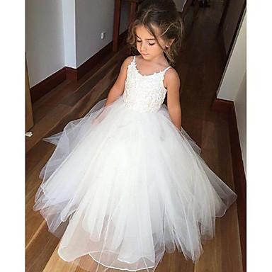 baratos Vestidos para Meninas-Infantil Para Meninas Estilo bonito Temática Asiática Branco Sólido Jacquard Frente Única Com Transparência Sem Manga Longo Vestido Branco