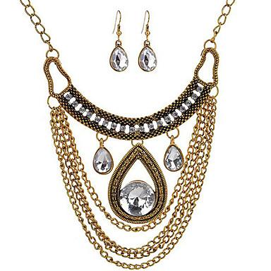 levne Dámské šperky-Dámské Visací náušnice Obojkové náhrdelníky Řetízky Vystřižený Hruška Střapec Vintage Pozlacené Náušnice Šperky Zlatá Pro Párty Street 1 sada / vrstvené Náhrdelníky