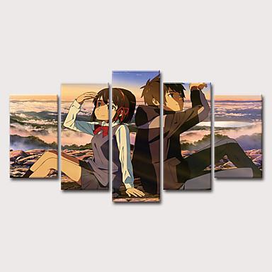 billige Trykk-Trykk Strukket Lerret Trykk - Mennesker Tegneserie Klassisk Moderne Fem Paneler Kunsttrykk