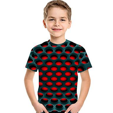 cheap Boys'Tees & Blouses-Kids Toddler Boys' T shirt Tee Short Sleeve Print Optical Illusion Color Block Geometric Print Blue Red Fuchsia Children Tops Summer Active Basic Streetwear