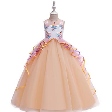 baratos Vestidos para Meninas-Infantil Para Meninas Vintage Doce Unicorn Estampa Colorida Multi Camadas Patchwork Sem Manga Longo Vestido Rosa