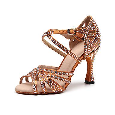 baratos Sapatos de Salsa-Mulheres Sapatos de Dança Seda Sapatos de Dança Latina Cristal / Strass Salto Salto Alto Magro Personalizável Preto / Marron / Espetáculo