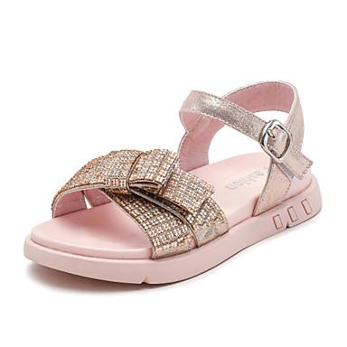 baratos Sapatos de Criança-Para Meninas Microfibra Sandálias Criança (9m-4ys) / Little Kids (4-7 anos) / Big Kids (7 anos +) Conforto Laço Preto / Rosa claro Verão / Borracha