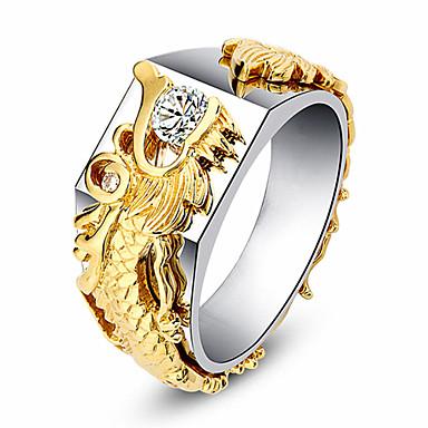 levne Prsteny-Dámské Modrá Zelená Růžová Kubický zirkon Ozdobný Prsten Draci Moderní Elegantní Fashion Ring Šperky Zlatá Pro Svatební