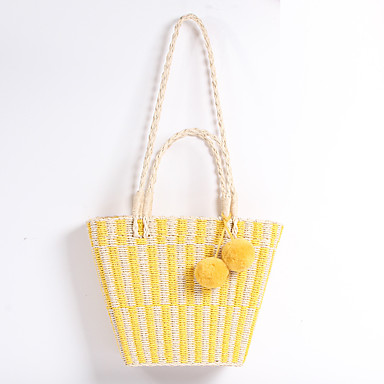 bb5ee38623d Women s Bags Straw Top Handle Bag Solid Color Yellow   Sky Blue