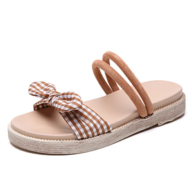 povoljno Ženske sandale-Žene Poliester Ljeto Ležerne prilike Sandale Ravna potpetica Okrugli Toe Mašnica Crn / Badem / Svjetlosmeđ