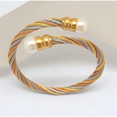 abordables Bracelet-Manchettes Bracelets Femme Classique Perle Acier inoxydable Content Elégant Bracelet Bijoux Dorée Forme Géométrique pour Soirée Quotidien