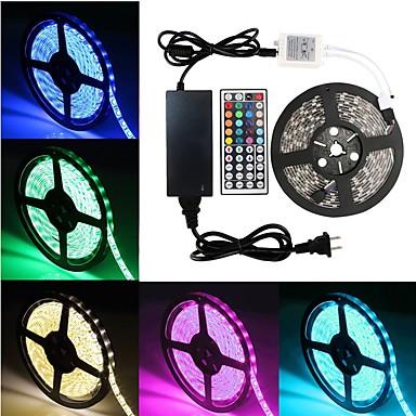 billige LED Strip Lamper-5 m Fleksible LED-lysstriper 300 LED SMD5050 1 44Kjør fjernkontrollen / 1 x 5A strømadapter RGB Fest / Selvklebende 12 V 1set