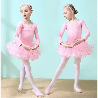 2b8cdca5fe Gyermek táncruhák / Balett Ruhák Lány Edzés / Teljesítmény Pamut Fodros  Hosszú ujj Természetes Ruha