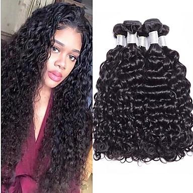 baratos Extensões de Cabelo Natural-4 pacotes Cabelo Brasileiro Liso 100% Remy Hair Weave Bundles Cabelo Humano Ondulado Cabelo Bundle Um Pacote de Solução 8-28inch Côr Natural Tramas de cabelo humano Sedoso Fashion Grossa Extensões de