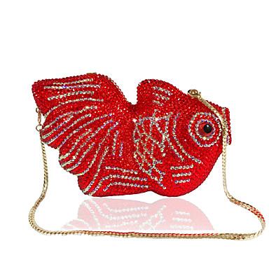 billige Vesker-Dame Krystalldetaljer / Kjede Legering Aftenveske Rhinestone Crystal Evening Bags Helfarge Rød / Høst vinter