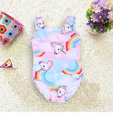 baratos Roupas de Banho para Meninas-Infantil Bébé Para Meninas Praia Unicorn Estampado Roupa de Banho Rosa