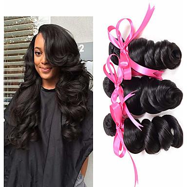 baratos Extensões de Cabelo Natural-3 pacotes Cabelo Brasileiro Ondulação Larga 100% Remy Hair Weave Bundles Cabelo Humano Ondulado Cabelo Bundle Extensões de Cabelo Natural 8-28 polegada Côr Natural Tramas de cabelo humano Sem Cheiros