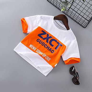 baratos Camisas para Meninos-Infantil Para Meninos Básico Moda de Rua Estampado Estampa Colorida Patchwork Estampado Manga Curta Algodão Camiseta Preto