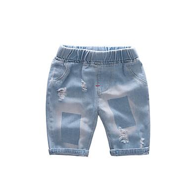 baratos Calças para Meninos-Infantil Para Meninos Básico Moda de Rua Sólido Buraco rasgado Estampado Algodão Jeans Azul