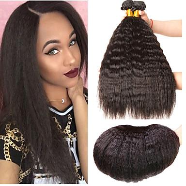 baratos Extensões de Cabelo Natural-3 pacotes Cabelo Indiano Yaki Liso Cabelo Virgem 100% Remy Hair Weave Bundles Peça para Cabeça Cabelo Bundle Extensões de Cabelo Natural 8-28 polegada Côr Natural Tramas de cabelo humano Segurança