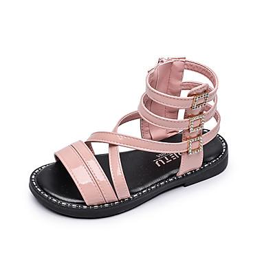 baratos Sapatos de Criança-Para Meninas Couro Ecológico Sandálias Little Kids (4-7 anos) / Big Kids (7 anos +) Sapatos Romanos Caminhada Amêndoa / Preto / Rosa claro Verão