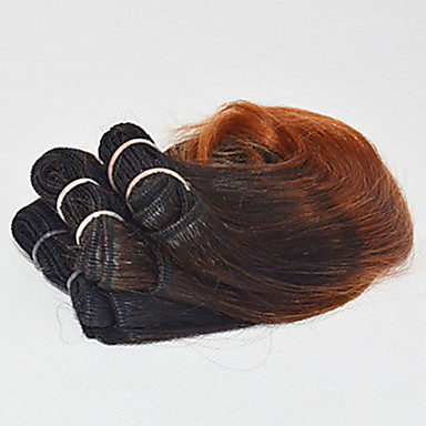 voordelige Weaves van echt haar-4 bundels Braziliaans haar Golvend 100% Remy haarweefselbundels Ombre 8 inch(es) Menselijk haar weeft Extensions van echt haar