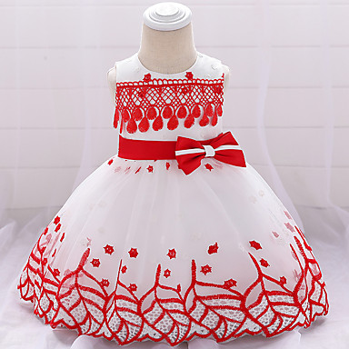 a90f40e41 Baby Girls' Active / Basic Solid Colored / Patchwork Bow / Embroidered  Sleeveless Knee-length Cotton Dress Blushing Pink