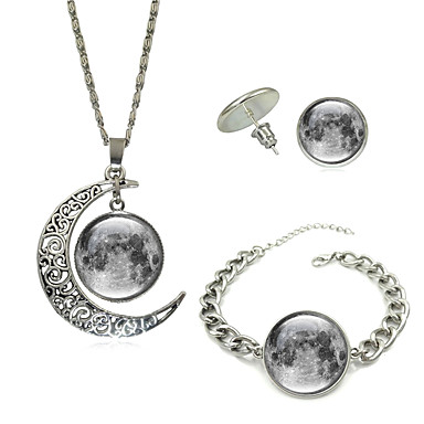 levne Party doplňky-Dámské Geometrické Šperky Set Crescent Moon Punk Zahrnout Náhrdelník Náušnice Náramek Stříbrná Pro Dar Karneval