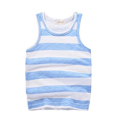baratos Camisas para Meninos-Infantil Para Meninos Básico Listrado Sem Manga Algodão Top e Camisete Verde
