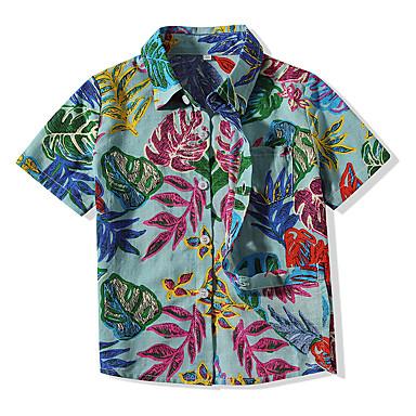 זול חולצות לתינוקות לבנים-חולצה כותנה שרוולים קצרים פרחוני בוהו בנים תִינוֹק / פעוטות