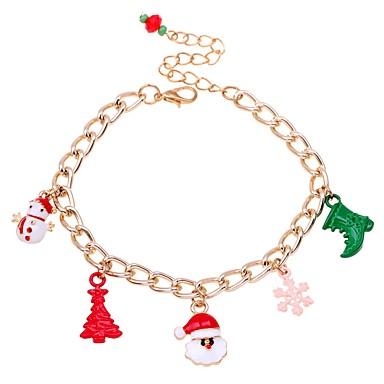 abordables Bracelet-Chaînes Bracelets Femme Classique Costumes de père noël Arbre de Noël Classique Mode Bracelet Bijoux Rouge Forme Géométrique pour Noël Cadeau