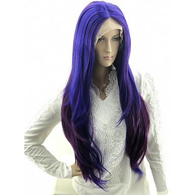저렴한 가발 & 헤어 연장-Wig Accessories 곱슬머리 스트레이트 / 느슨한 컬 스타일 중간 부분 기계 제작 / 전면 레이스 가발 블루 보라색, 파란색 인조 합성 헤어 24 인치 여성용 파티 / 섹시 레이디 / 컬러 그라데이션 블루 / 버건디 가발 매우 긴 코스플레이 가발