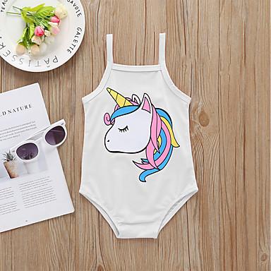 baratos Roupas de Banho para Meninas-Bébé Recém-Nascido Para Meninas Activo Básico Cavalo Unicorn Estampado Frente Única Roupa de Banho Branco