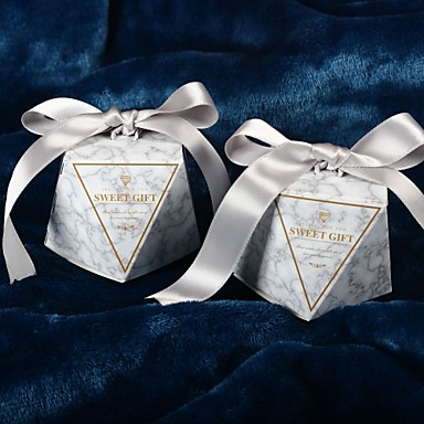 abordables Support de Cadeaux pour Invités-Irrégulier Papier nacre Titulaire de Faveur avec Ruban Décoration de maison / Boîtes Cadeaux - 50 pièces