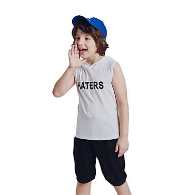 billiga Pojkset-Barn Småbarn Pojkar Aktiv Grundläggande Tryck Ärmlös Normal Bomull Klädesset Vit