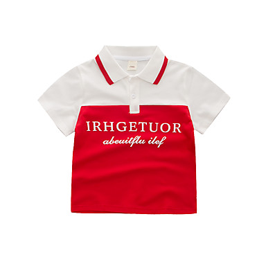 baratos Camisas para Meninos-Infantil Para Meninos Básico Moda de Rua Estampado Estampa Colorida Patchwork Estampado Manga Curta Algodão Camiseta Azul