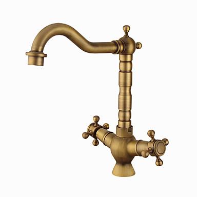 Kitchen faucet - Two Handles One Hole Antique Copper Standard Spout Centerset Contemporary / Antique Kitchen Taps