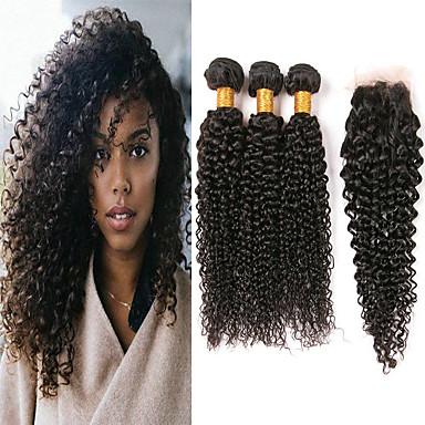 billige Skjønnhet og hår-3 pakker med lukking Brasiliansk hår Kinky Curly Ubehandlet hår 100% Remy Hair Weave Bundles Menneskehår Vevet Bundle Hair En Pack Solution 8-20 tommers Naturlig Farge Hårvever med menneskehår Myk